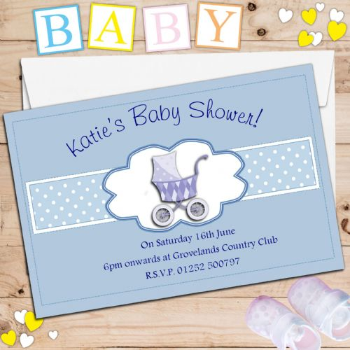 10 Personalised Boy Blue Baby Shower Invitations N16